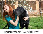 Woman Laughing With Dog  Woman...