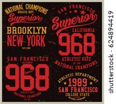 vintage varsity graphics and... | Shutterstock .eps vector #624894419