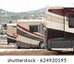 rv campsite in snow at estes... | Shutterstock . vector #624920195