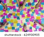 people hands hold note post it | Shutterstock . vector #624930905