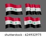 3d waving flag of syria. vector ... | Shutterstock .eps vector #624932975