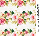 seamless floral pattern with... | Shutterstock .eps vector #624943871