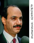 """Small photo of Sheikh Saud Nasser al-Saud Al-Sabah Kuwaiti Ambassador to the United States after appearing on the news show """"This Week With David Brinkley"""" Washington DC., February 24, 1991."""