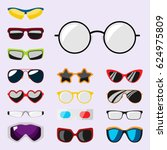 fashion set sunglasses... | Shutterstock .eps vector #624975809