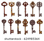 Isolated Vintage Keys Vector...