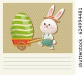 cartoon happy easter bunny... | Shutterstock .eps vector #624994481