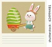 cartoon happy easter bunny... | Shutterstock .eps vector #624994481
