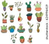indoor plants set | Shutterstock .eps vector #624996419
