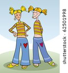 girl and her copy friend | Shutterstock .eps vector #62501998