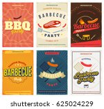 bbq party colored posters set.... | Shutterstock .eps vector #625024229
