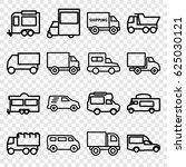 van icons set. set of 16 van... | Shutterstock .eps vector #625030121