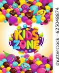 kids zone vector poster.... | Shutterstock .eps vector #625048874