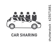 car sharing. group of people... | Shutterstock .eps vector #625071881