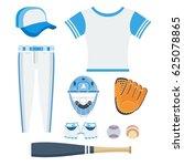 baseball equipment. flat vector ... | Shutterstock .eps vector #625078865