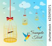 illustration with birds and... | Shutterstock .eps vector #625095071