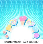 blue background with colorful... | Shutterstock .eps vector #625100387