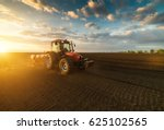 farmer with tractor seeding  ...   Shutterstock . vector #625102565