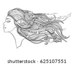 young beautiful girl with elven ... | Shutterstock .eps vector #625107551