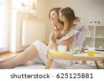 mother with her little daughter ... | Shutterstock . vector #625125881