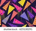 memphis seamless pattern.... | Shutterstock .eps vector #625130291