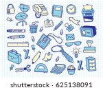 office supplies doodle on paper ... | Shutterstock .eps vector #625138091