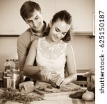 happy young loving couple near... | Shutterstock . vector #625150187
