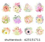 big floral collection. vector... | Shutterstock .eps vector #625151711