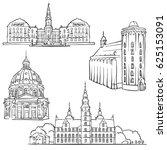 copenhagen denmark famous... | Shutterstock .eps vector #625153091