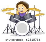 Illustration of a Kid Playing with a Drumset - stock vector