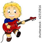 Illustration of a Kid Strumming His Guitar - stock vector