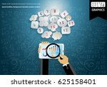 tablet with hand businessman... | Shutterstock .eps vector #625158401