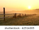 Sunrise Over Misty Grassland...