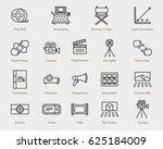 movie flat line outline stroke... | Shutterstock .eps vector #625184009