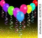 bright balloons and ribbons on... | Shutterstock .eps vector #625187915
