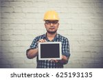 engineer young wearing plaid... | Shutterstock . vector #625193135
