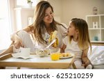 mother with her little daughter ... | Shutterstock . vector #625210259