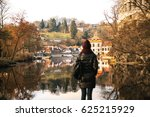 the girl tourist with backpack... | Shutterstock . vector #625215929