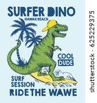 surfer dinosaur character... | Shutterstock .eps vector #625229375