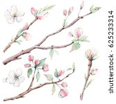 hand drawn apple tree branches... | Shutterstock . vector #625233314