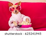 chihuahua dog watching tv or a... | Shutterstock . vector #625241945