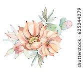 hand drawn watercolor saguaro... | Shutterstock . vector #625244279