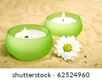 Candles And Little Daisy Flowe...