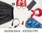 top view of yong woman clothes... | Shutterstock . vector #625261745