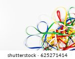 many color ribbons on white... | Shutterstock . vector #625271414
