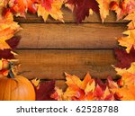 Autumn Leaves Frame With Wood...