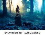 piled good luck stones showing... | Shutterstock . vector #625288559