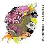 hand drawn monster of buddhism  ... | Shutterstock .eps vector #625307591