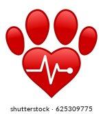 Stock vector vector heart paw cardiac isolated background 625309775