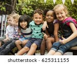 group of children are in a... | Shutterstock . vector #625311155