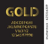set of gold alphabet letters... | Shutterstock .eps vector #625316309